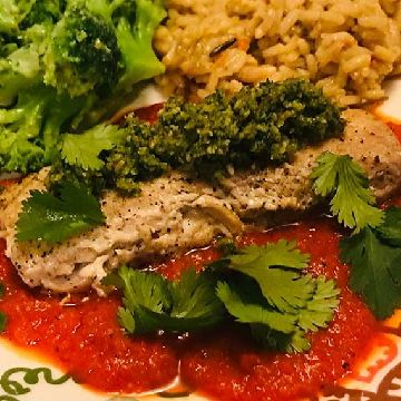 Thumbnail for Mahilitious! Pan Seared Mahi Mahi With Roasted Red Pepper and Cilantro Pesto